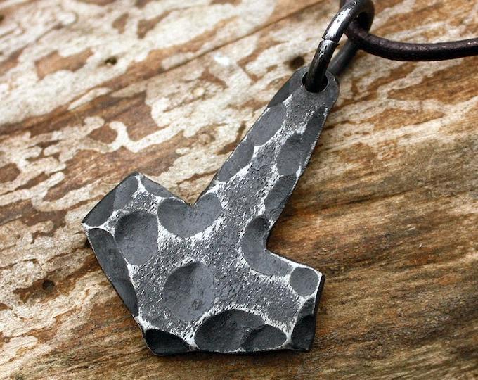 Forged Iron Flat Viking Mjolnir Stone Texture Handmade Thor Hammer Pendant FM7