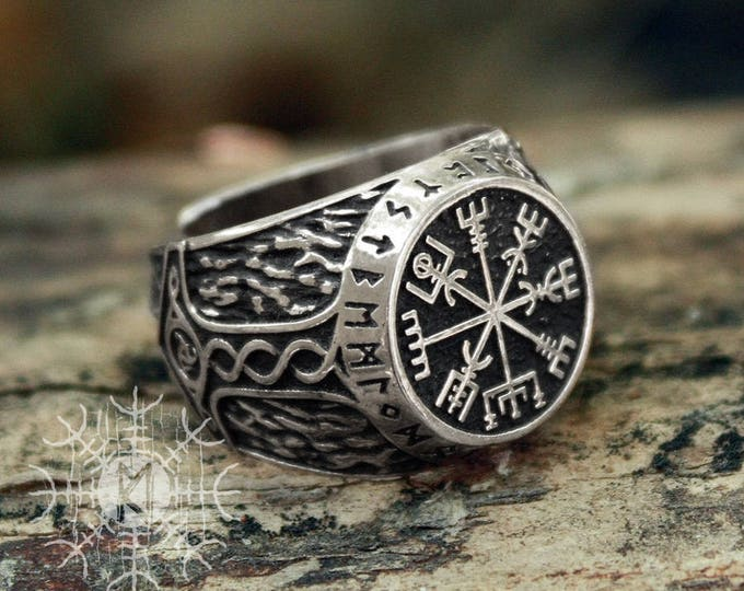 Silver Vegvisir Futhark Runes Vikings Compass Magic Stave Nordic Amulet Adjustable Size Ring