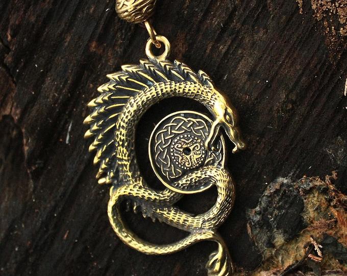 Bronze Celtic Dragon Serpent 3D Spiritual Amulet Pendant Talisman Necklace