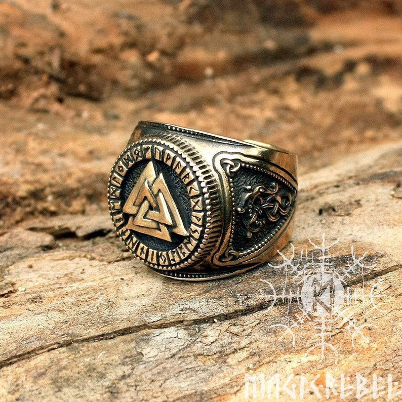Viking Ring Valknut Ring Futhark Ring Runic Ring Odin image 0