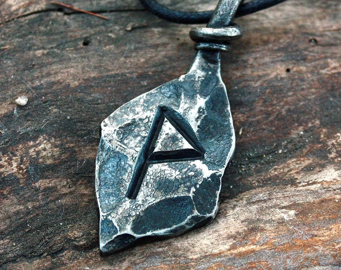Forged Iron Wunjo Wynn Rune Viking Amulet Runic Nordic Pendant Talisman Necklace