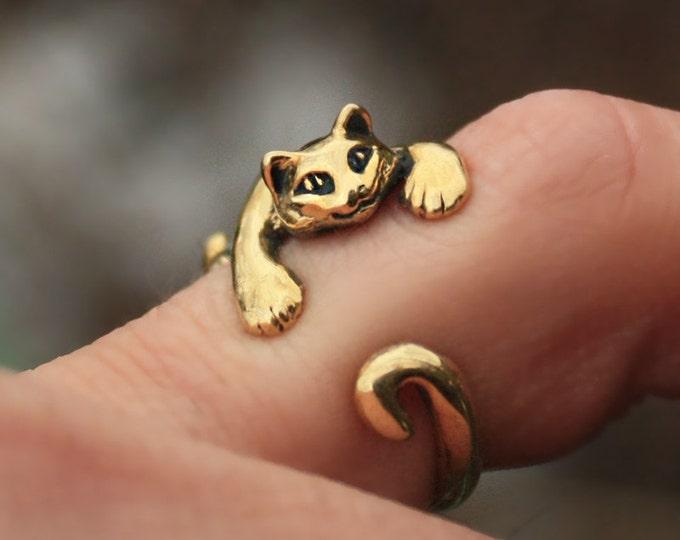 Bronze Cat Kitten Chasing Tail Hugger Adjustable Size Ring