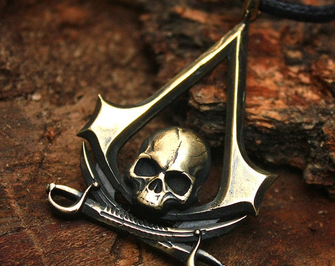 Bronze Skull & Swords Assassin Insignia Gamer 3D Pendant Necklace