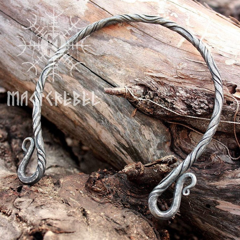 Forged Iron Neck Torc Forged Torc Viking Torc Medieval image 0