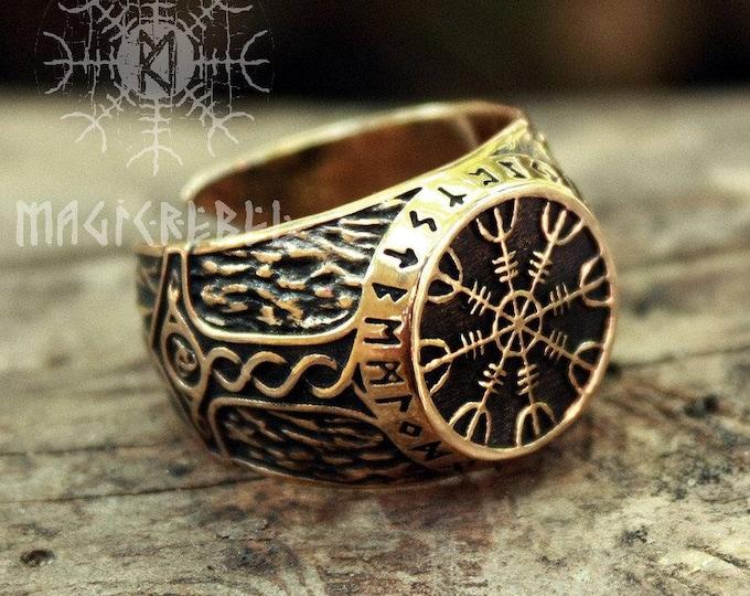 Bronze Helm of Awe Aegishjalmur Futhark Viking Magic Stave Runic Amulet Adjustable Size Ring