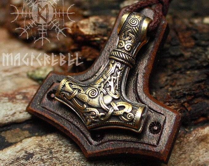 Viking Mjolnir, Viking Thor Hammer, Viking Pendant, Viking Amulet, Nordic Necklace, Viking Necklace, BM1