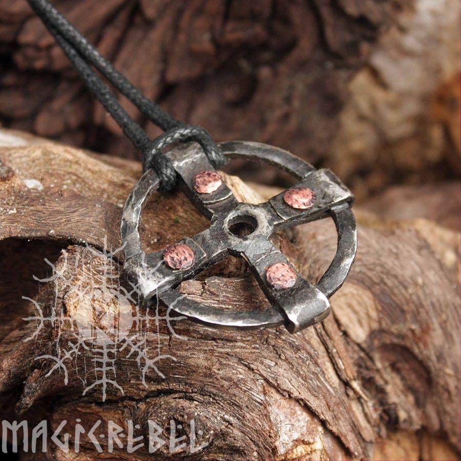 Forged Iron Solar Sun Cross Odin Wheel Of Taranis Handmade Viking