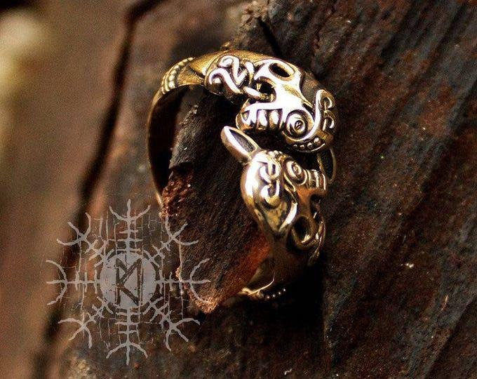 Bronze Viking Horse Heads Oseberg Nordic Amulet Adjustable Size Ring