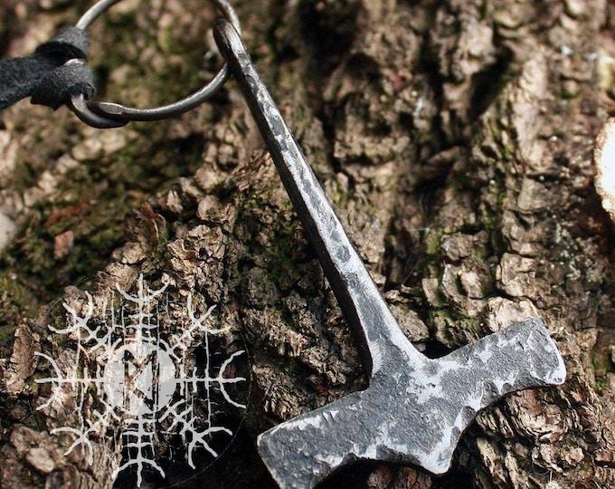 Forged Iron Handmade Viking Mjolnir Thor Hammer Hunting Tool Pendant Necklace