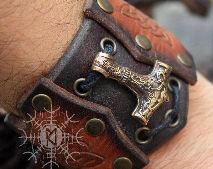 Bronze Thor Hammer Mjolnir Viking Nordic Amulet Pendant Leather Bracelet