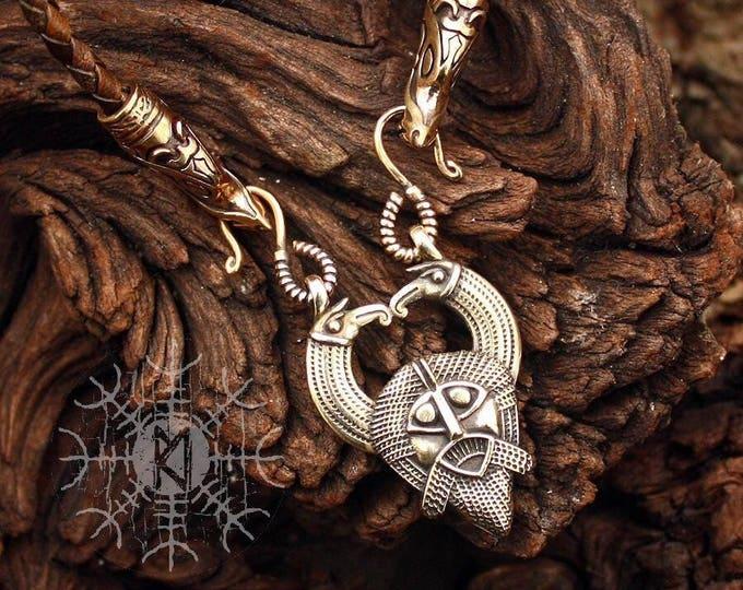 Viking Pendant Odin Huginn Muninn Ravens Gungnir Rune Gar Spear Pendant Wolf Heads Braided Leather Cord Necklace