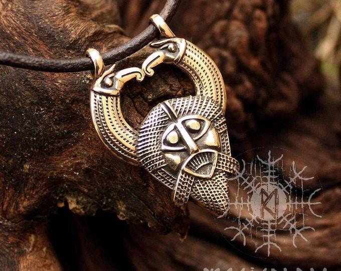 Odin Pendant Viking Norse God Huginn Muninn Ravens Gungnir Rune Gar Spear Bronze Necklace