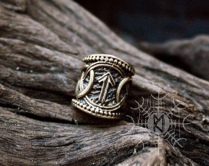 Viking Runes Bead Bronze Teiwaz Algiz Nordic Viking Handmade Hair Beard Dreadlocks Ring