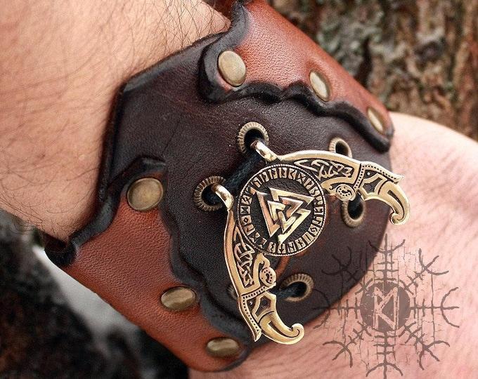 Bronze Valknut Futhark Odin Triple Horn Ravens Vikings Amulet Pendant Leather Bracelet