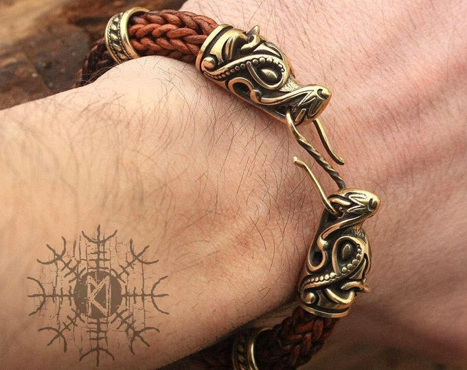 Bronze Wolf Heads Handmade Viking Braided Brown Genuine Leather Cuff Bracelet WHB5brn