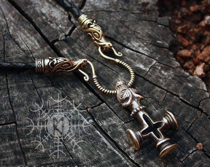 Mjolnir Thor Hammer Olaf Cross Wolf Bronze Pendant Handmade Genuine Braided Leather Necklace