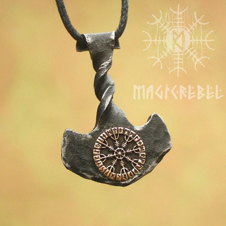 Forged Iron Thor Hammer Twisted Handle Viking Mjolnir Bronze Aegishjalmur Helm of Awe Futhark Handmade Pendant FM8