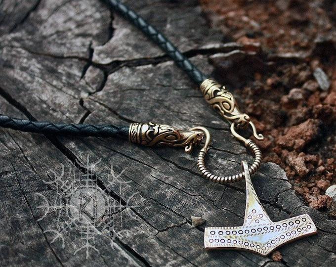 Viking Pendant, Thor Hammer Nekclace, Mjolnir Necklace, Handmade Braided Genuine Leather Necklace, Bronze Pendant BM9