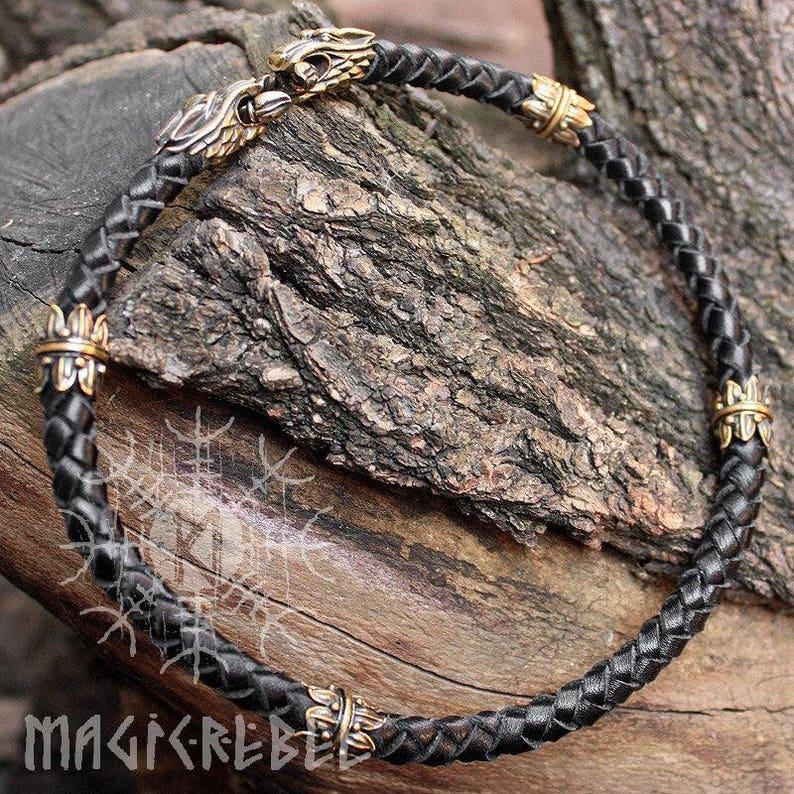 Medioevo Cintura Pelle Cintura In Pelle 3 cm Testa di Lupo Nero 3 grandezze Wolf