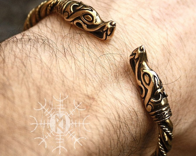 Bronze & Brass Wolf Heads Vikings Nordic Handmade Torc Twisted Wire Bracelet