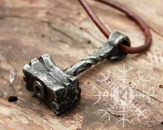 Forged Iron Handmade Viking Heavy Thor Hammer Mjolnir Hunting Tool Pendant FM1