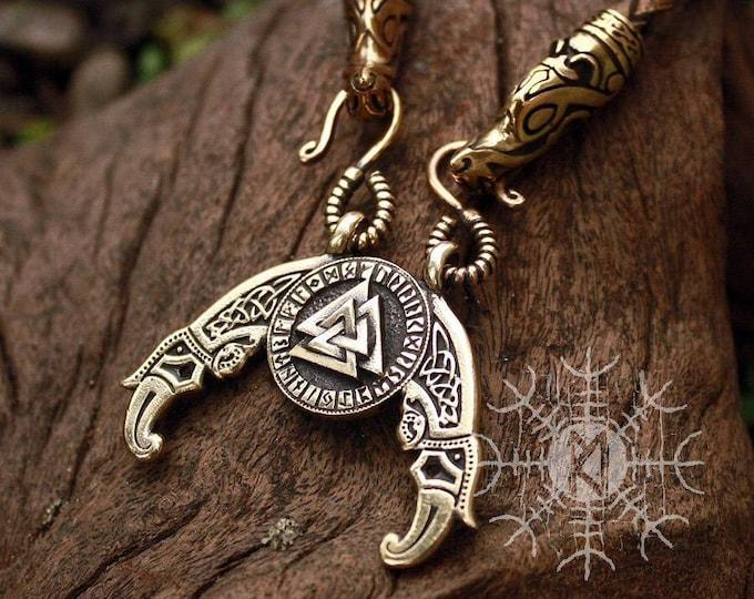 Viking pendant Valknut Futhark Odin Triple Horn Triskele Ravens Huggin Munnin Vikings Pendant Wolf Heads Leather Necklace Bronze