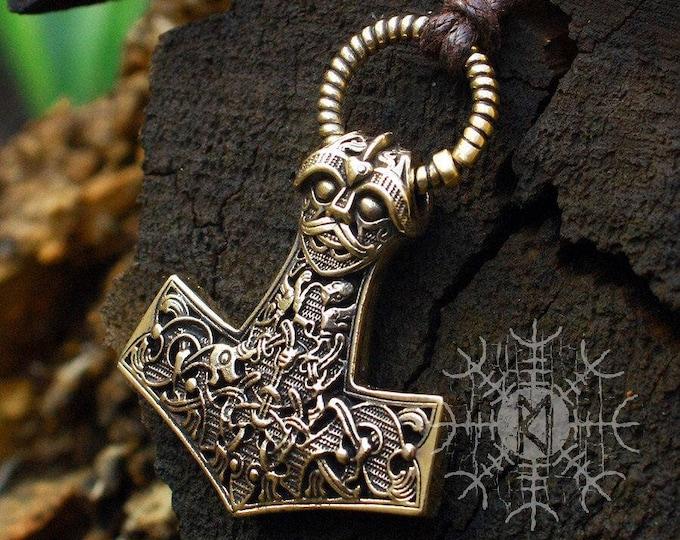 Viking Mjolnir, Viking Necklace, Mjolnir Necklace, Viking Pendant, Thor Hammer, Nordic Mjolnir, Bronze Pendant, BM7