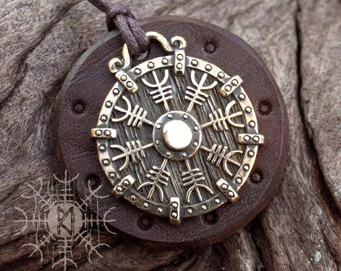 NEW ITEM! ~ Bronze Helm of Awe Aegishjálmur Vikings Icelandic Amulet Nordic Runic Pendant Talisman Necklace