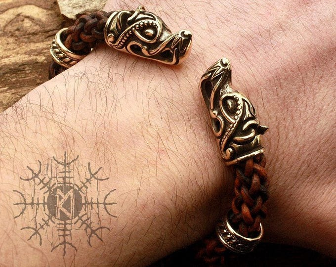 Bronze Wolf Heads Handmade Viking Braided Brown Genuine Leather Cuff Wire Bracelet WHB4brn