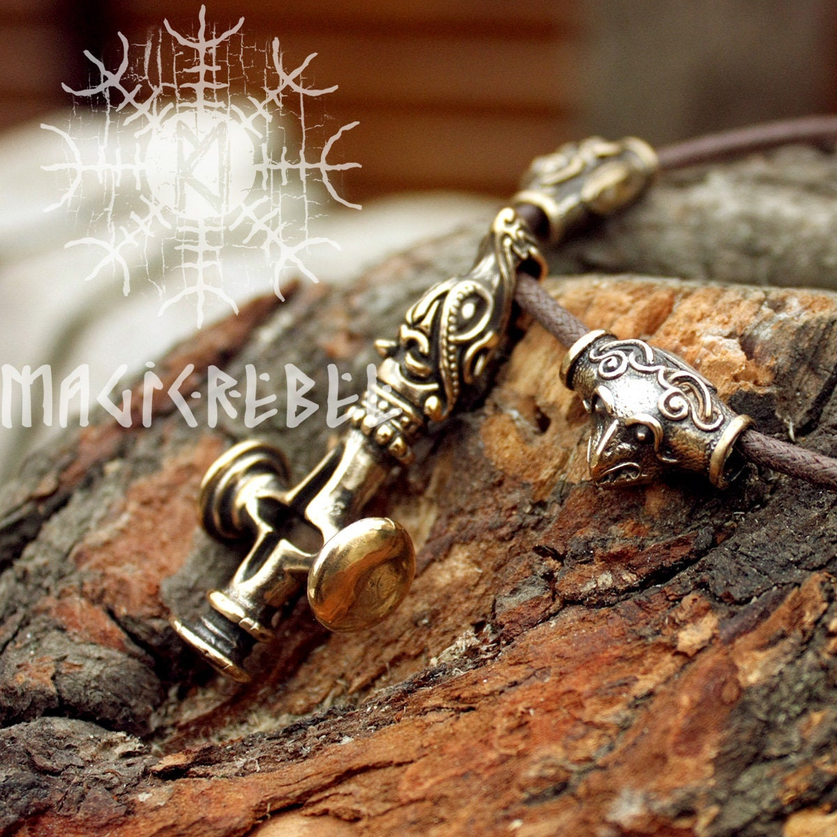 Viking CROSS WOLF Silver Small Replica from Fossi Iceland
