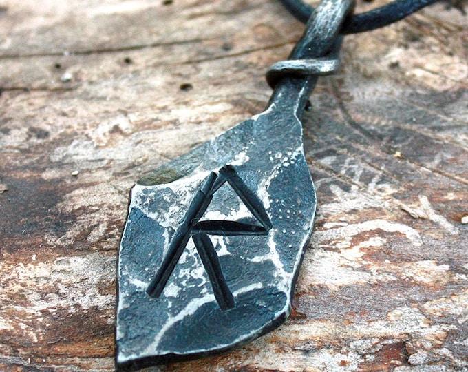 Forged Iron Raido Rad Rune Viking Amulet Runic Nordic Pendant Talisman Necklace
