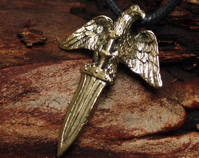 Bronze Rome Total War Roman Legion Eagle Sword 3D Pendant Necklace