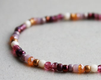 Summer Accessories Bohemian Jewelry Friendship Bracelet Boho Jewellery Purple Brown /& Beige Bracelet