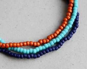 Bracelet Set - Three Bracelets - Orange, Turquoise & Navy - Beaded Bracelets - Boho Jewellery - Bohemian Jewelry - Mix 'n Match