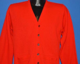 0d007aaa37 60s Skyline Red Acrylic Cardigan Sweater Small