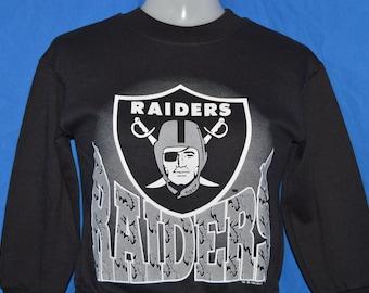 90s Los Angeles Raiders Black Silver Vintage Sweatshirt Youth Small 4f6a84bd8