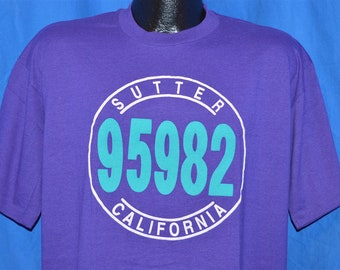 e914988f 90s Sutter California 95982 Beverly Hills 90210 Spoof Purple Vintage t-shirt  Extra-Large