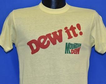 4ccd9d0a 80s Dew It! Mountain Dew Slogan t-shirt Small
