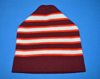 335f80aa267 80s Maroon Red White Striped Vintage Beanie Winter Hat