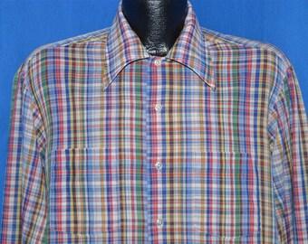 e264c93786a5a 70s JCPenney Rainbow Plaid Button Down Shirt Large