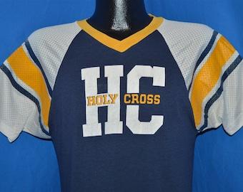902231d45 70s Holy Cross Champion Blue Bar Nylon Mesh Jersey t-shirt Medium
