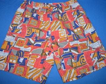 29a86986a9 90s Tribal Print Nylon Lined Men's Swim Trunks Size Large