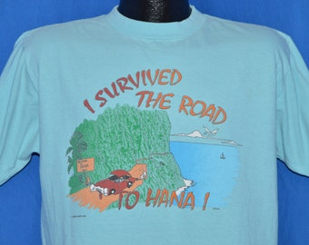 80s I Survived the Road to Hana Hawaii Teal Blue Vintage t-shirt Large 02964e974