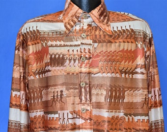 Vintage 70s Charisma All Over Print Disco Shirt Nylon  Psychedelic Trippy Groovy Trees Birds Autumn Paisley Tab Collar