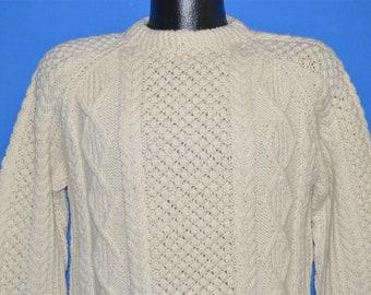 16e150e2923 80s Blarney Wool Aran Irish Cable Sweater Small