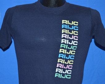 80s RIJC Roosevelt Island Jewish Congregation Rainbow Navy Blue Vintage t- shirt Small fe7435d6f