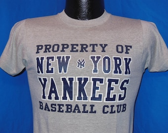 80s Property of New York Yankees Baseball Club Gray Vintage t-shirt Small fa48f698d