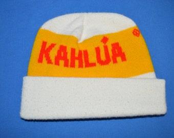 8eb8395d743 80s Kahlua Liquor Acrylic White Ski Beanie Winter Hat