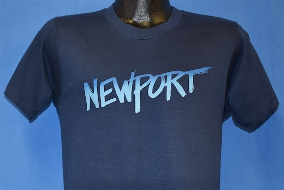 Vintage vtg navy blue 80s newport rhode island destination long sleeve  graphic print t shirt graphic S M soft worn in navy blue 1980s distr