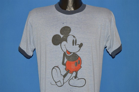 80s Mickey Mouse Heather Blue Ringer t-shirt Mediu